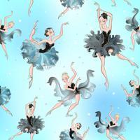 Bailarinas Padrão sem emenda Pequena princesa. Ilustração vetorial