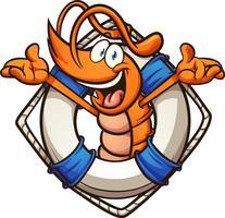 Camarão de salva-vidas dos desenhos animados vetor