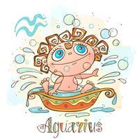 Ícone do horóscopo infantil. Zodíaco para crianças. Signo de aquário. Vetor. Símbolo astrológico como personagem de desenho animado. vetor