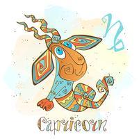Ícone do horóscopo infantil. Zodíaco para crianças. Signo de Capricórnio. Vetor. Símbolo astrológico como personagem de desenho animado. vetor