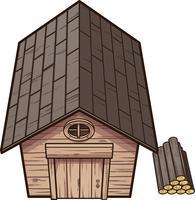 Cabine de madeira dos desenhos animados vetor