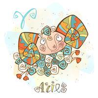 Ícone do horóscopo infantil. Zodíaco para crianças. Signo de Áries. Vetor. Símbolo astrológico como personagem de desenho animado.