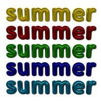 Composição de letras coloridas brilhantes verão com fundo branco vetor