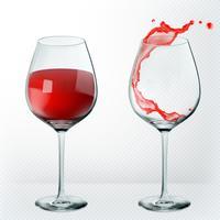 Copo de vinho de transparência. Vazia e cheia. Realismo 3D, ícone do vetor.