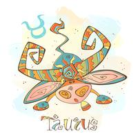 Ícone do horóscopo infantil. Zodíaco para crianças. Signo de Touro . Vetor. Símbolo astrológico como personagem de desenho animado.