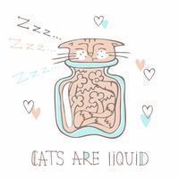 Gato dormindo em uma jarra de vidro. Estilo bonito. Gatos são líquidos. Inscrição. Vetor
