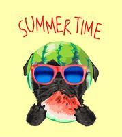 cão pug preto em óculos de sol e ilustração de melancia