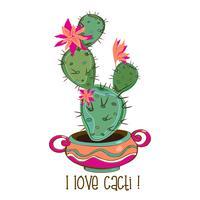 Cactus em uma panela de barro agradável. Inscrição. Eu amo cactos. Vetor
