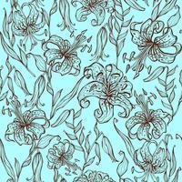 Teste padrão sem emenda de flores do lírio no fundo de turquesa. Vetor.