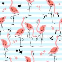 Padrão sem emenda com flamingos em fundo listrado. Motivos de verão. Vetor