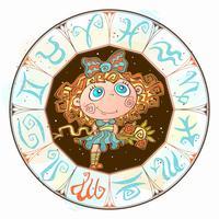Horóscopo para crianças assinar Virgo no círculo do zodíaco. Vetor