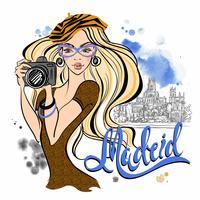Garota de turista na Espanha. Madri. Fotografa as vistas. Vetor. Viagem