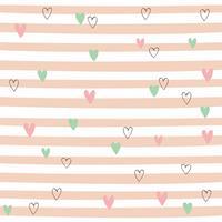 Padrão sem emenda listrado com corações. Padrão bonito com listras cor de rosa. Vetor