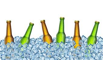 garrafas de cerveja no gelo. Ilustração vetorial realista. vetor