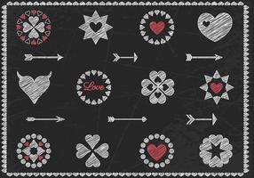 Vetor de vetor de corações e vetor de seta com desenho de giz