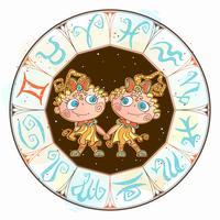 O horóscopo para crianças assina Gêmeos no círculo do zodíaco. Vetor