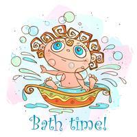 O bebezinho é banhado. Hora de tomar banho de inscrição. Vetor.