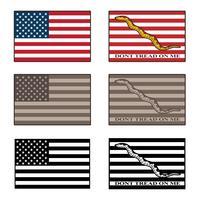 EUA e não pise em mim bandeira isolado ilustração vetorial definida em cores, tons de camuflagem de deserto e preto vetor
