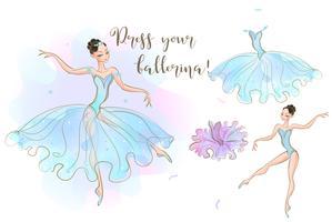 Definido para meninas. Uma boneca de bailarina e um conjunto de roupas feitas de dois vestidos. Vetor.