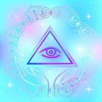 Sinal sagrado. O olho que tudo vê. Energia espiritual. Medicina alternativa. Esotérico. Vetor. vetor