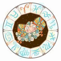 Ícone de horóscopo infantil. Zodíaco para crianças. Signo de Áries. Vetor. Símbolo astrológico como personagem de desenho animado
