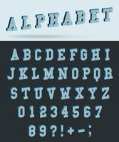 Fonte do alfabeto isométrica com letras e números de efeito 3d vetor