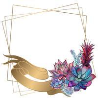 Moldura de casamento de ouro com flores de peônia. Vetor.