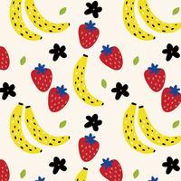 Padrão de verão com bananas e morangos vetor