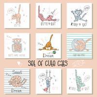 Conjunto de gatos engraçados em um estilo bonito. vetor
