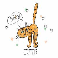 Engraçado fofo gato meows. Estilo bonito. Vetor.