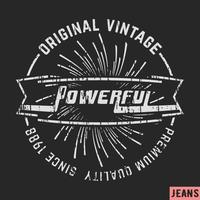 Selo vintage poderoso vetor