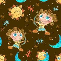 Um divertido padrão sem emenda para as crianças. Sagitário do signo do Zodíaco. Vetor