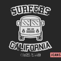 Selo vintage de ônibus de surfista