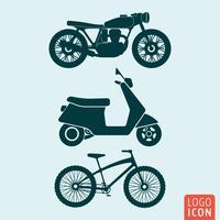 Ícone de bicicleta scooter de moto isolado vetor