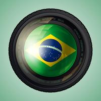 Lente da câmera do brasil vetor