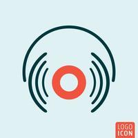 Ícone de fones de ouvido isolado vetor