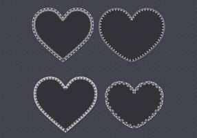Pacote de vetores de coração de renda preta