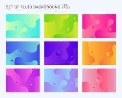 Conjunto de belas formas dinâmicas e fundo de cor gradiente vibrante. Modelo de design para capa brochura, cartaz, folheto, folheto, banner web, relatório anual, etc. vetor