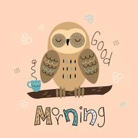 Uma coruja sonolenta em um estilo bonito. Bom Dia. Lettering Chá de bebê. Vetor