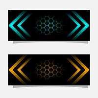 Projeto de conceito moderno da bandeira preta abstrata. Ouro brilhante e cor azul vetor
