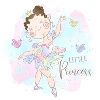 Pequena princesa bailarina dançando. Doce menina. Vetor