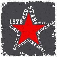T-shirt design de impressão. Poster vintage de estrela vermelha