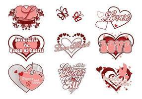Pacote de vetores de amor e coração