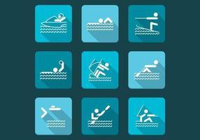 Pacote de ícones vetoriais de esportes aquáticos vetor