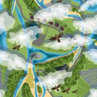 ilustração vetorial fundo sem emenda de árvores, vila, campos, praia e pássaros em cores marrom vetor