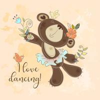 Urso de dança em um tutu. Personagem infantil bonito. Eu amo dançar. Vetor.
