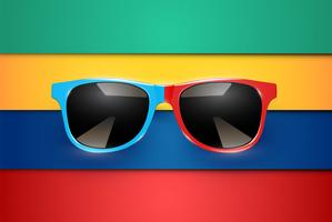 Folhas coloridas de papéis com óculos de sol realistas, ilustração vetorial vetor