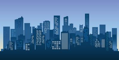 Fundo da arquitectura da cidade da silhueta das construções. Arquitetura moderna. Paisagem urbana da cidade. vetor