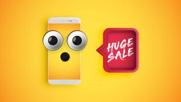 Emoticon amarelo altamente detalhado em um smartphone com um balão vermelho, ilustração vetorial