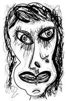 Expressionista abstrata, desenho de retrato de rosto de mulher